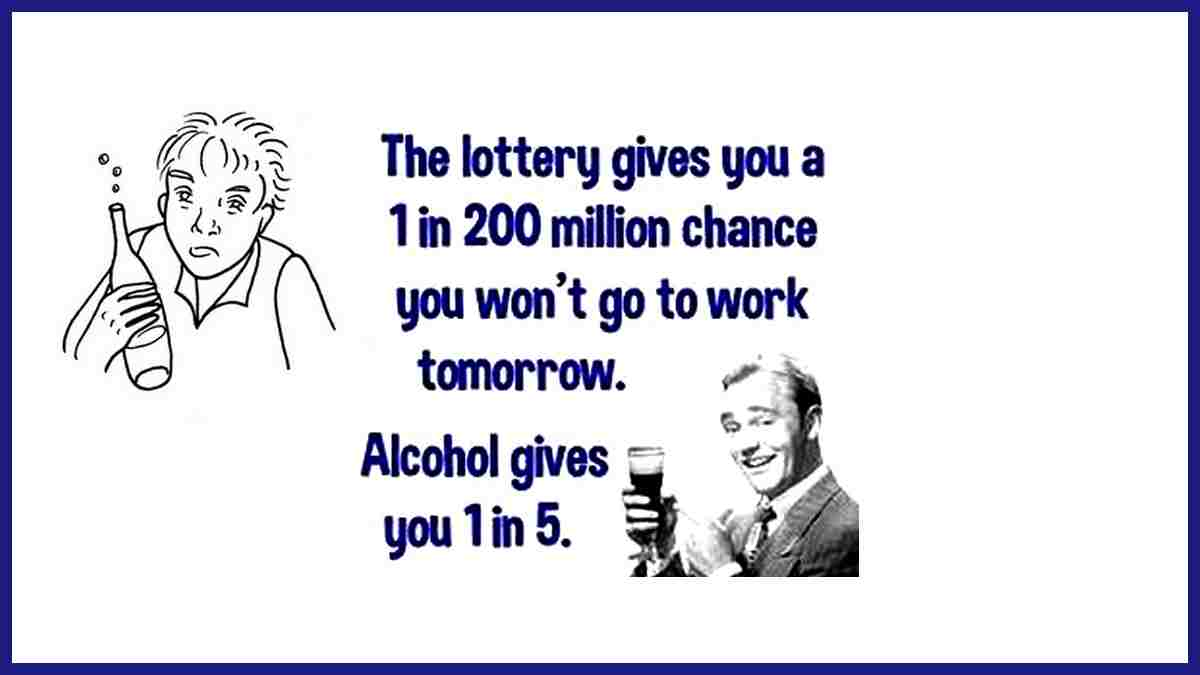 Funny lottery and alcohol statistics humor