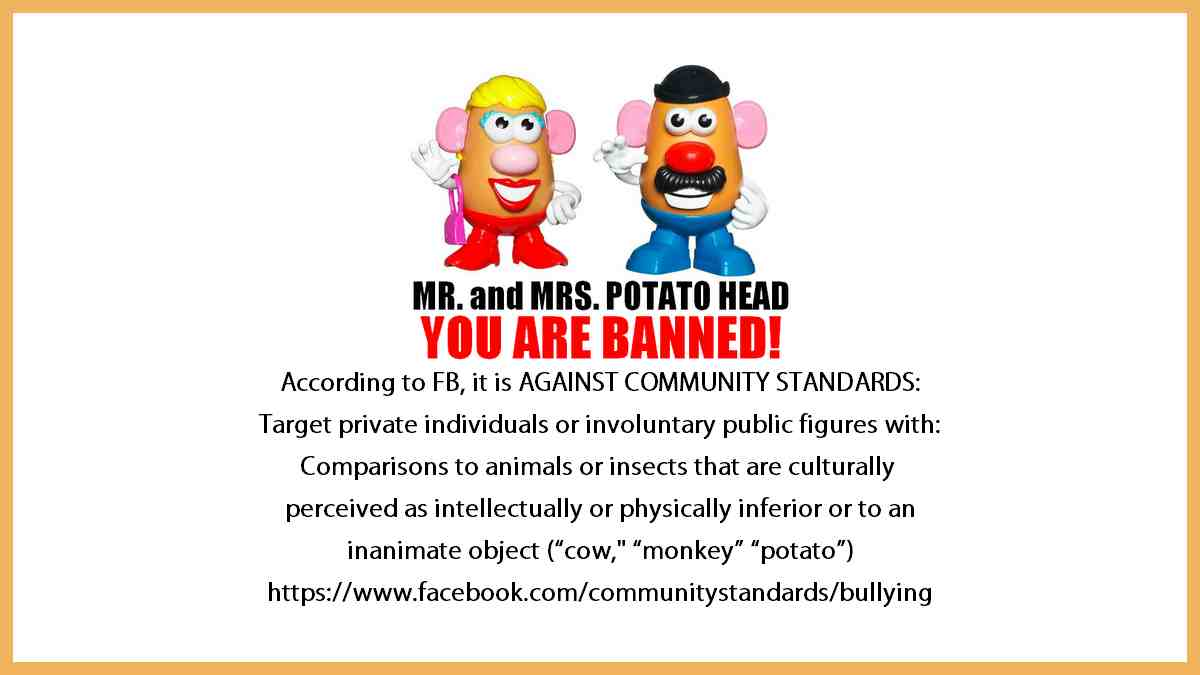 Watch out Mr and Mrs Potato Head because according to FB, It is AGAINST COMMUNITY STANDARDS: Target private individuals or involuntary public figures with: Comparisons to animals or insects that are culturally perceived as intellectually or physically inferior or to an inanimate object such as a cow, monkey, or POTATO!
